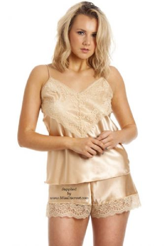 Gorgeous  Cami Top and French Knicker Set in Glossy Muted Gold Satin  and Lace UK 10/12 to 26/28